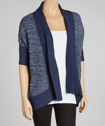 Blue Night & Cool Gray Color Block Open Cardigan