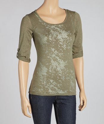 Brush Olive Scoop Neck Top