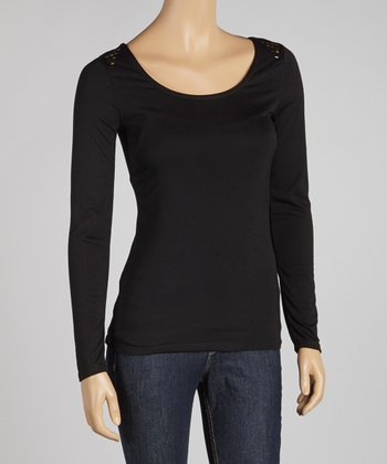 Black Studded Shoulder Scoop Neck Top