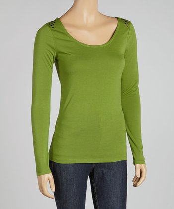 Cactus Green Studded Shoulder Scoop Neck Top