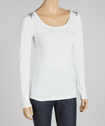 White Studded Shoulder Scoop Neck Top