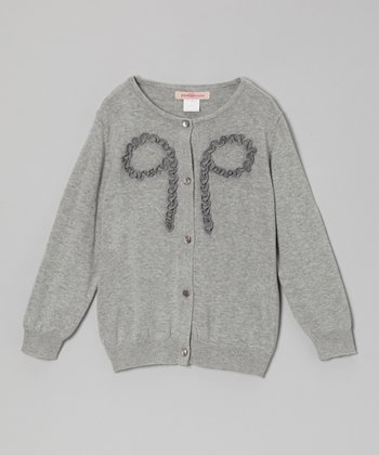 Gray Ruffle Bow Cardigan - Toddler & Girls