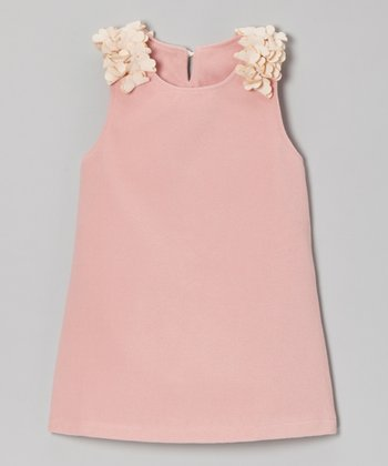 Pink Petal Shoulder A-Line Dress - Girls