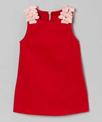 Red Petal Shoulder A-Line Dress - Toddler & Girls
