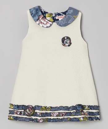 Ivory Floral Collar Wool-Blend A-Line Dress - Toddler & Girls