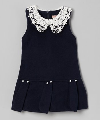 Navy Lace Collar Drop Waist Dress - Toddler & Girls