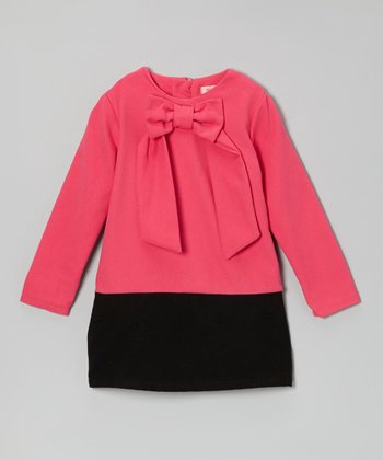 Fuchsia & Black Bow Wool-Blend Dress - Girls