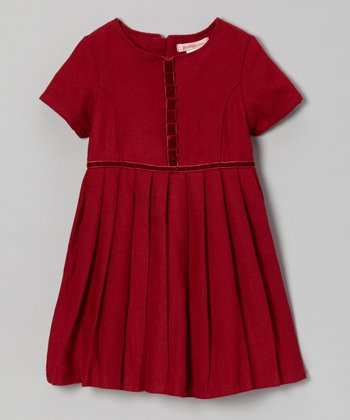 Garnet Pleated Wool-Blend Dress - Girls