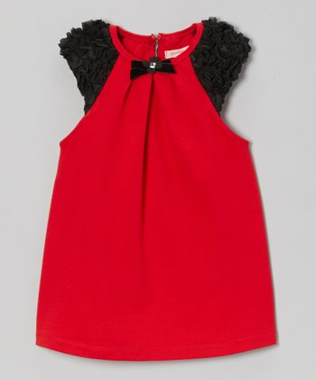 Red Ruffle Shoulder Swing Dress - Girls