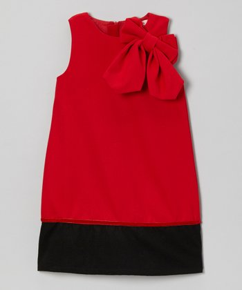 Red Bow Wool-Blend A-Line Dress - Toddler