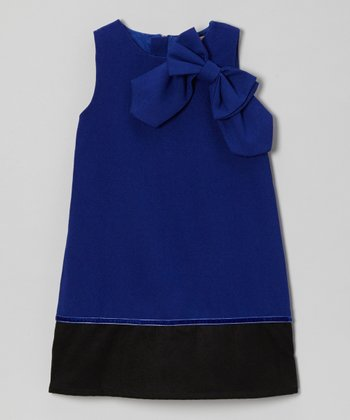Royal Blue Bow Wool-Blend A-Line Dress - Toddler