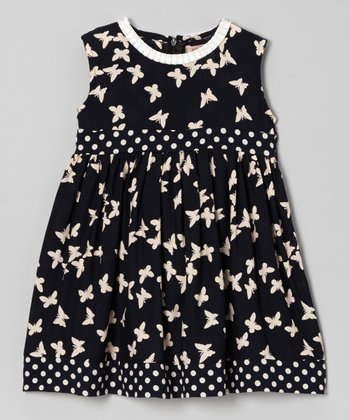 Dark Navy Butterfly Layered Dress - Girls