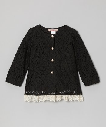 Black Lace Layered Jacket - Toddler & Girls