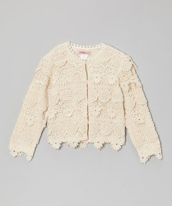 Natural Lace Cropped Jacket - Toddler & Girls