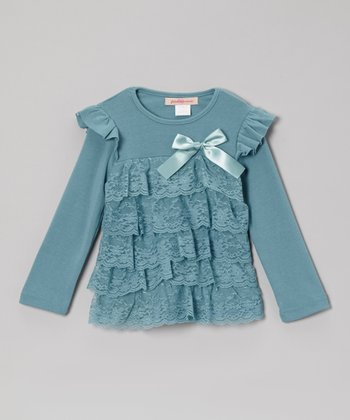 Dusty Blue Lace Tiered Top - Toddler & Girls