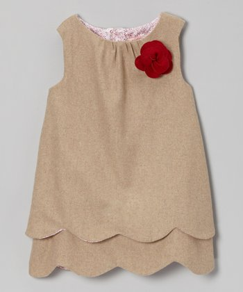 Latte Scalloped Wool-Blend Swing Tunic - Girls