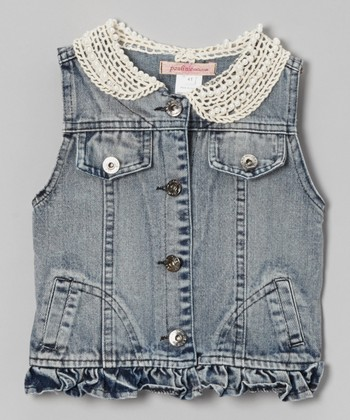 Medium Wash Lace Collar Denim Vest - Toddler & Girls