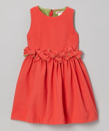 Watermelon Gathered Waist Dress - Girls