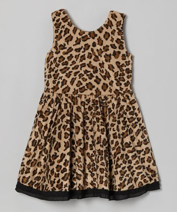 Tan Leopard Gathered Waist Dress - Girls