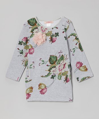 Gray Floral Pocket Tunic - Girls