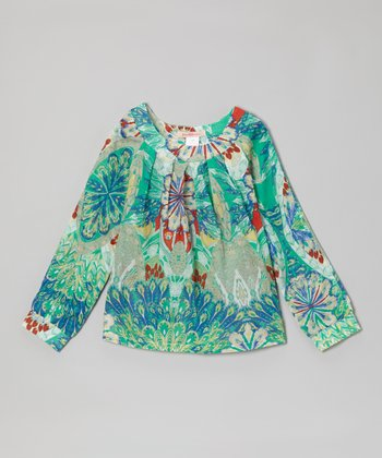Green Peacock Top - Toddler & Girls