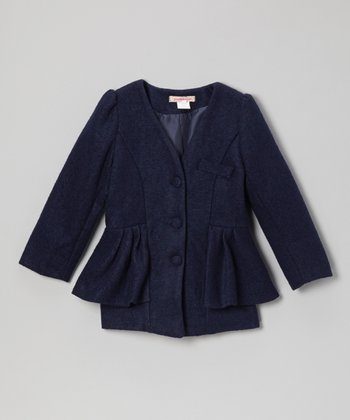 Navy Peplum Collarless Wool-Blend Jacket - Toddler & Girls
