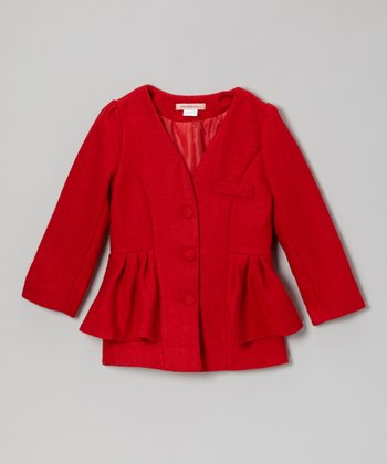 Red Peplum Collarless Jacket - Toddler & Girls