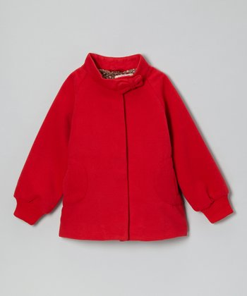 Red Bow Neck Swing Jacket - Girls