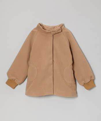 Beige Bow-Neck Swing Jacket - Toddler & Girls
