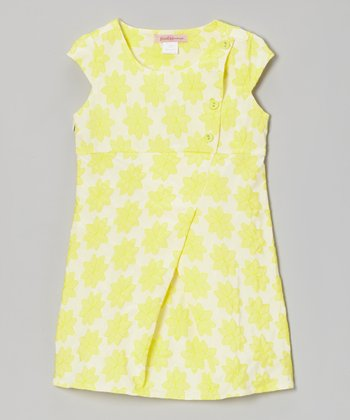 Yellow Floral Button Wrap Dress - Toddler & Girls