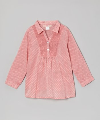 Pink Dot Shirred Top - Girls