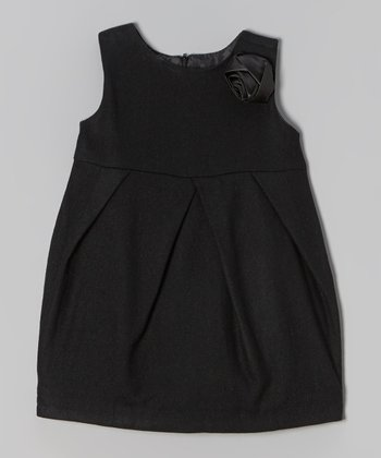 Black Rosette Wool-Blend Babydoll Dress - Toddler & Girls