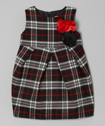 Black & Red Plaid Wool-Blend Babydoll Dress - Toddler & Girls