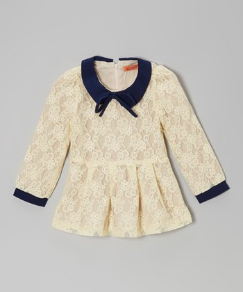 Cream & Black Lace Peter Pan Tunic - Toddler & Girls