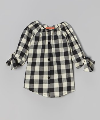 White & Black Gingham Button-Up Tunic - Toddler & Girls