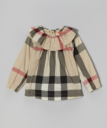 Tan & Black Plaid Ruffle Collar Tunic - Girls