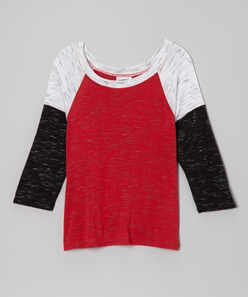 Red & Black Color Block Raglan Tee - Girls
