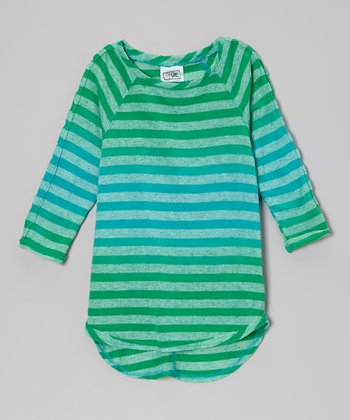 Green & Blue Stripe Raglan Tee - Girls