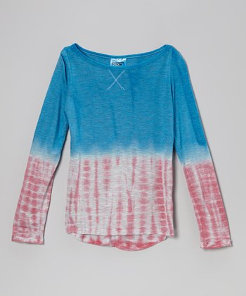 Blue & Red Tie-Dye Tee