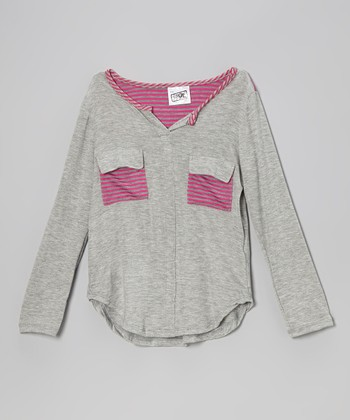 Heather Gray & Pink Stripe Pocket Tee - Girls
