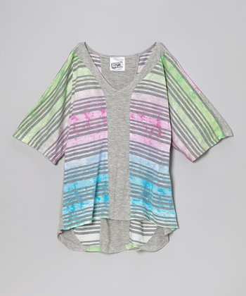 Heather Gray Watercolor Stripe V-Neck Top - Girls