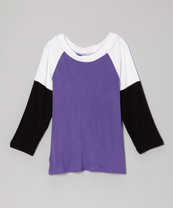 Purple & Black Color Block Raglan Tee - Girls