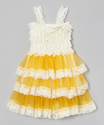 Cream & Yellow Lace Tiered Ruffle Dress - Toddler