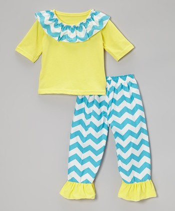 Yellow & Blue Zigzag Top & Pants - Toddler & Girls