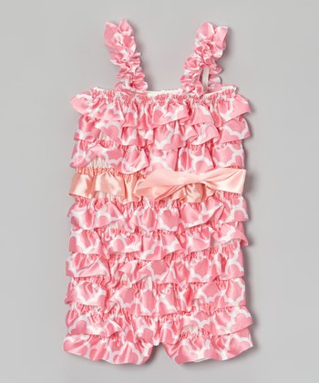 Light Pink Geometric Ruffle Romper - Infant & Toddler