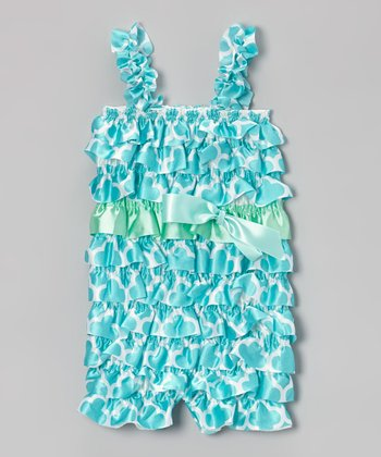 Teal Geometric Ruffle Romper - Infant & Toddler