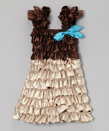 Brown Satin Tiered Ruffle Dress - Toddler & Girls