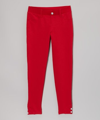 Red Rhinestone Button Jeggings - Girls