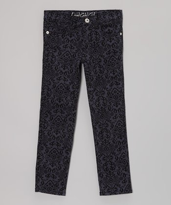 Charcoal Damask Straight-Leg Jeans - Girls