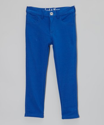 Royal Blue Damask Straight-Leg Jeans - Girls